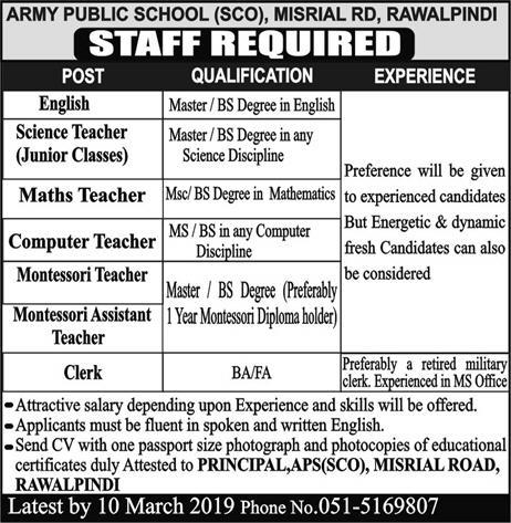Army Public School And College Jobs 2019
