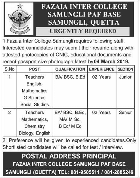 Fazaia Inter College Quetta Jobs 2019 PAF Base