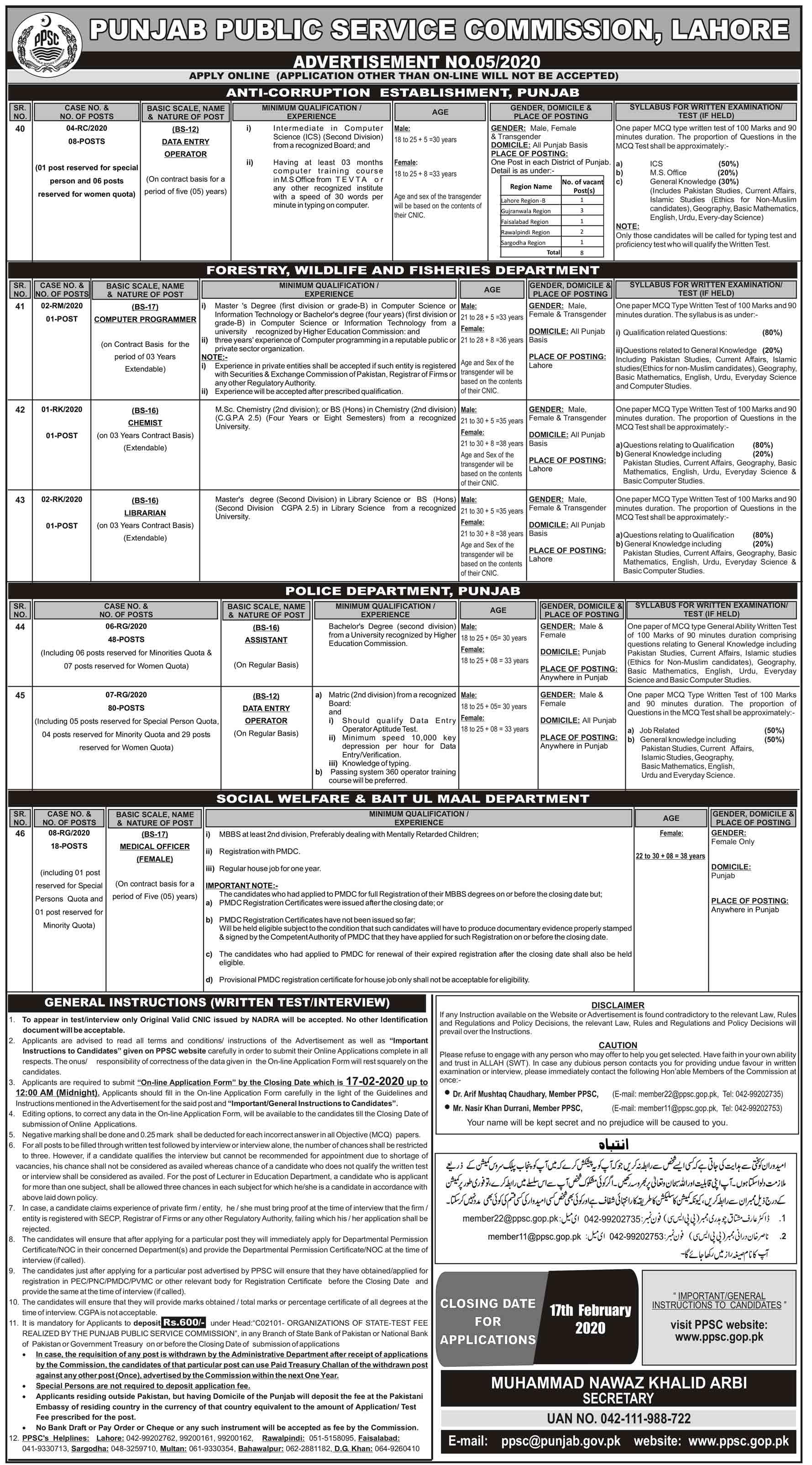 PPSC Jobs 2020 Latest - Advertisement No.052020