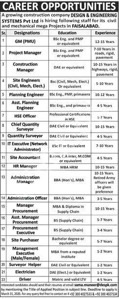 Design Engineering Systems Pvt Ltd Faisalabad Jobs 2020