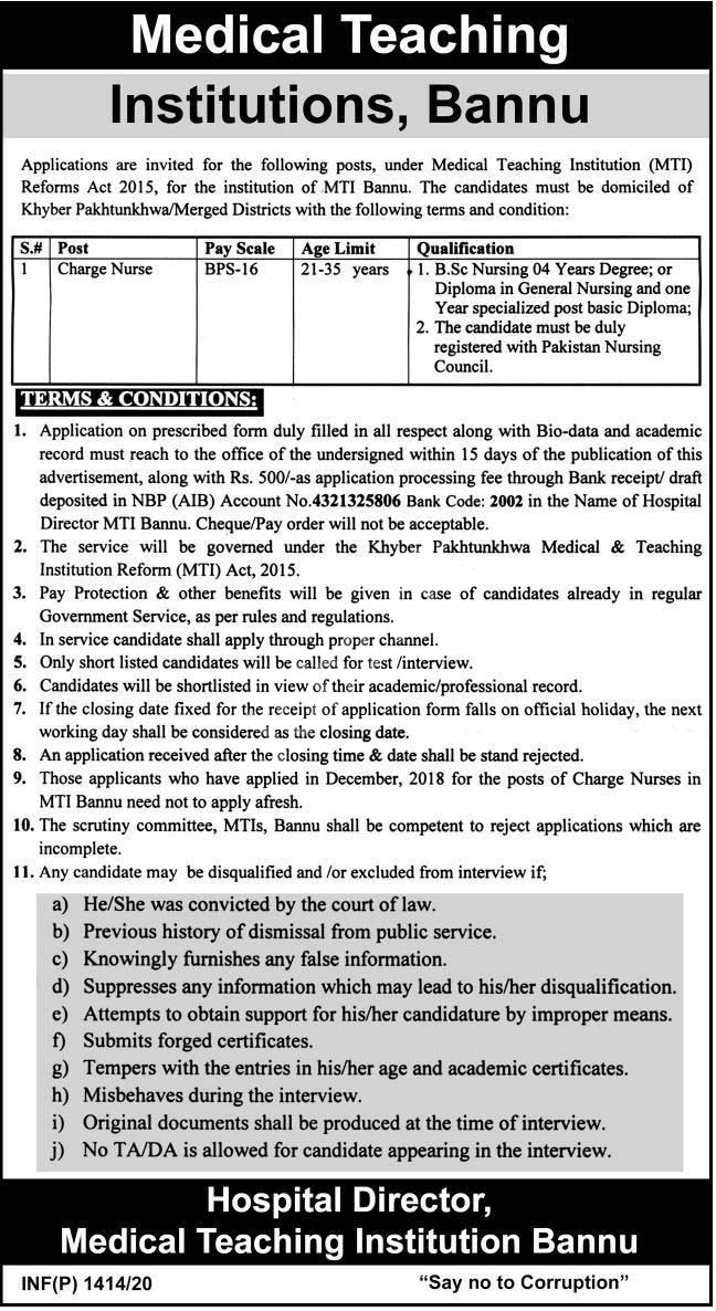 Charge Nurse Jobs In Mti Hospitals Institute Bannu Jobs 2020 Latest