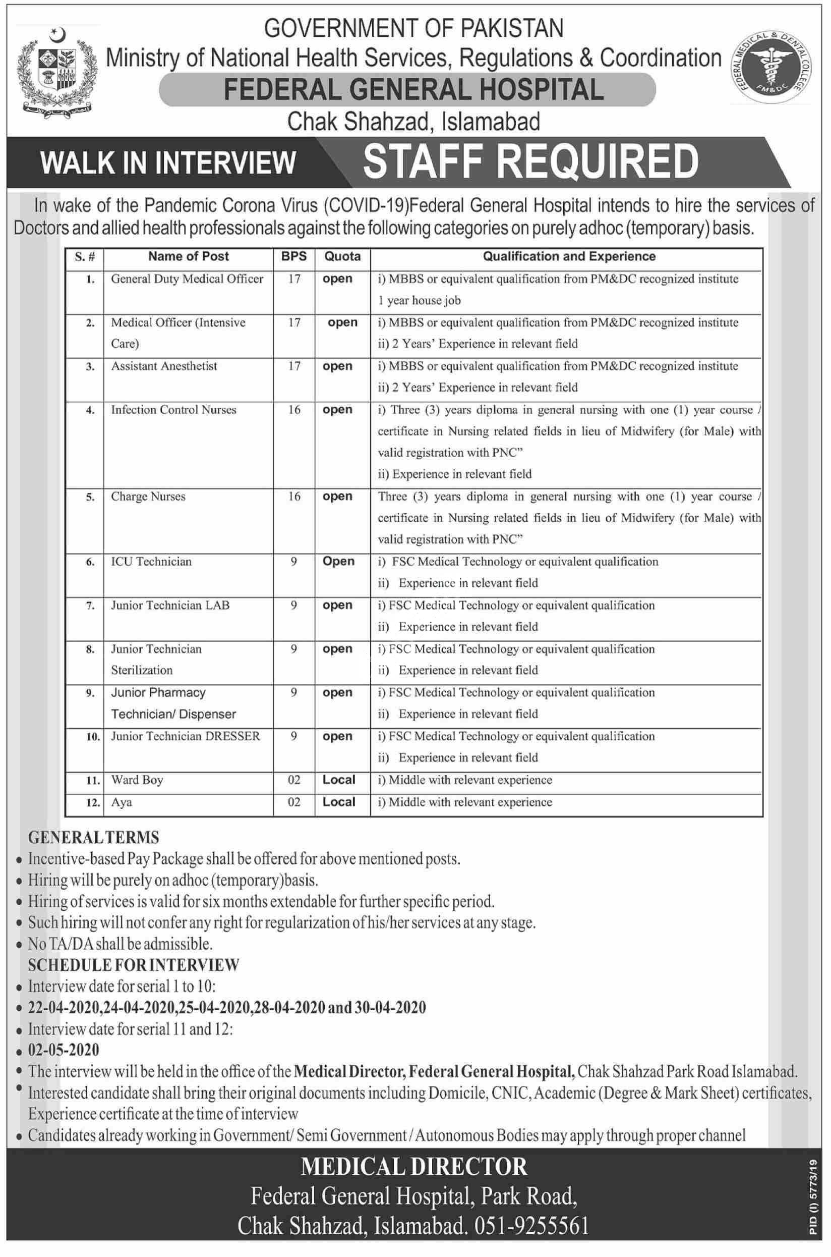 Federal General Hospital Jobs Islamabad