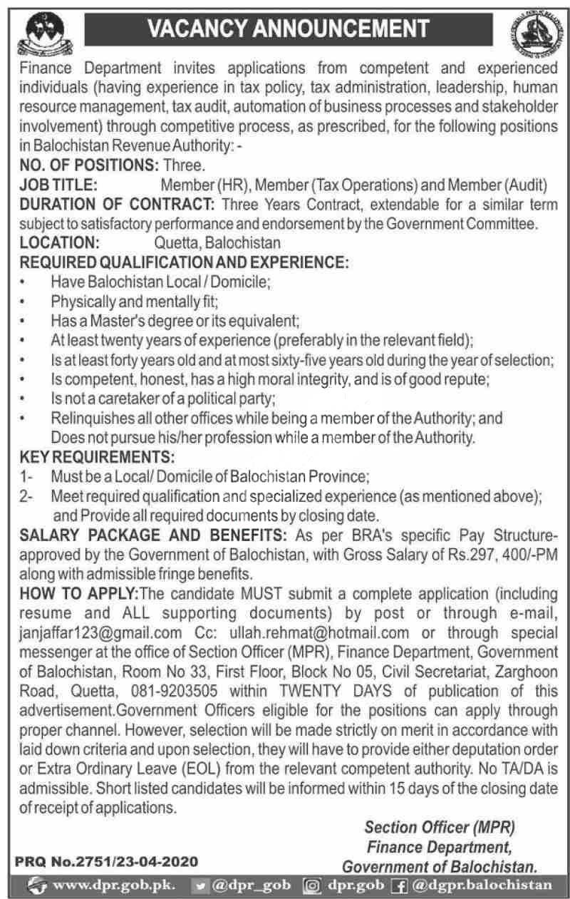 Finance Revenue Department Balochistan Jobs 2020 Latest
