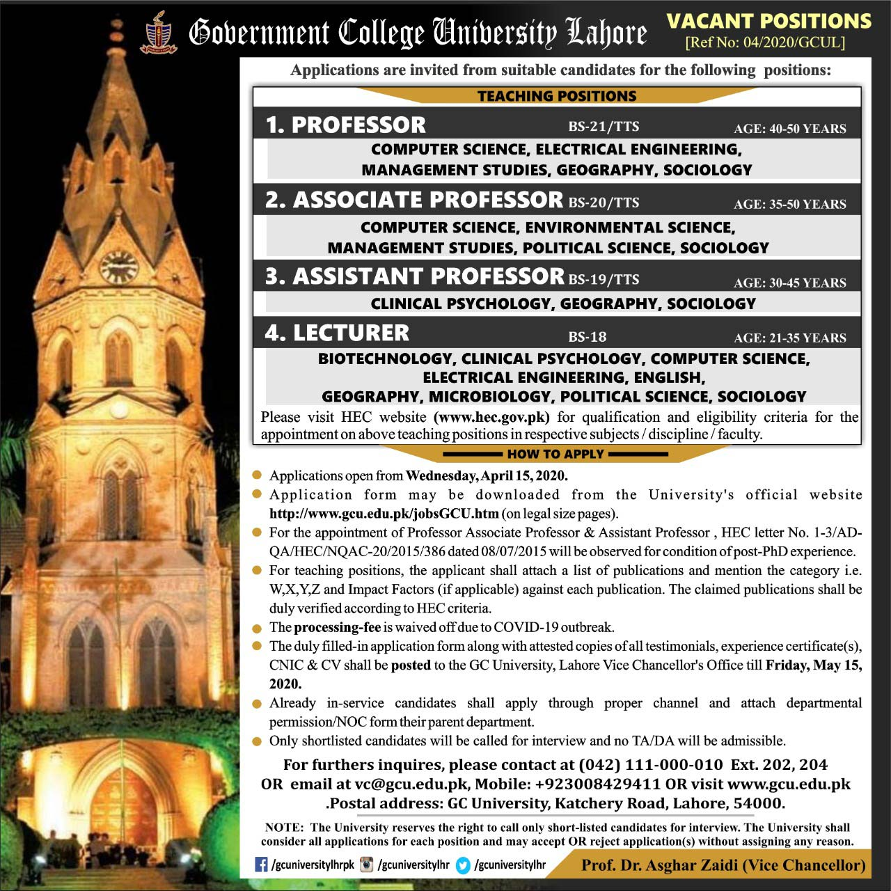 Government College University Lahore Gcul Jobs 2020 Latest Teaching Faculty