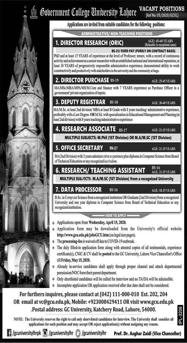 Government College University Lahore Gcul Jobs 2020 Latest