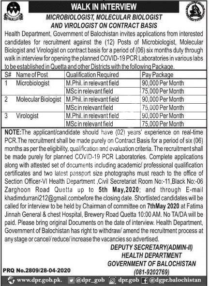 Health Department Balochistan Jobs 2020 Latest