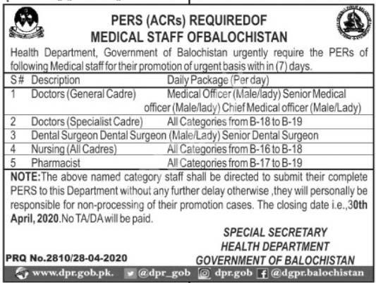 Health Department Quetta Balochistan Jobs 2020 Latest
