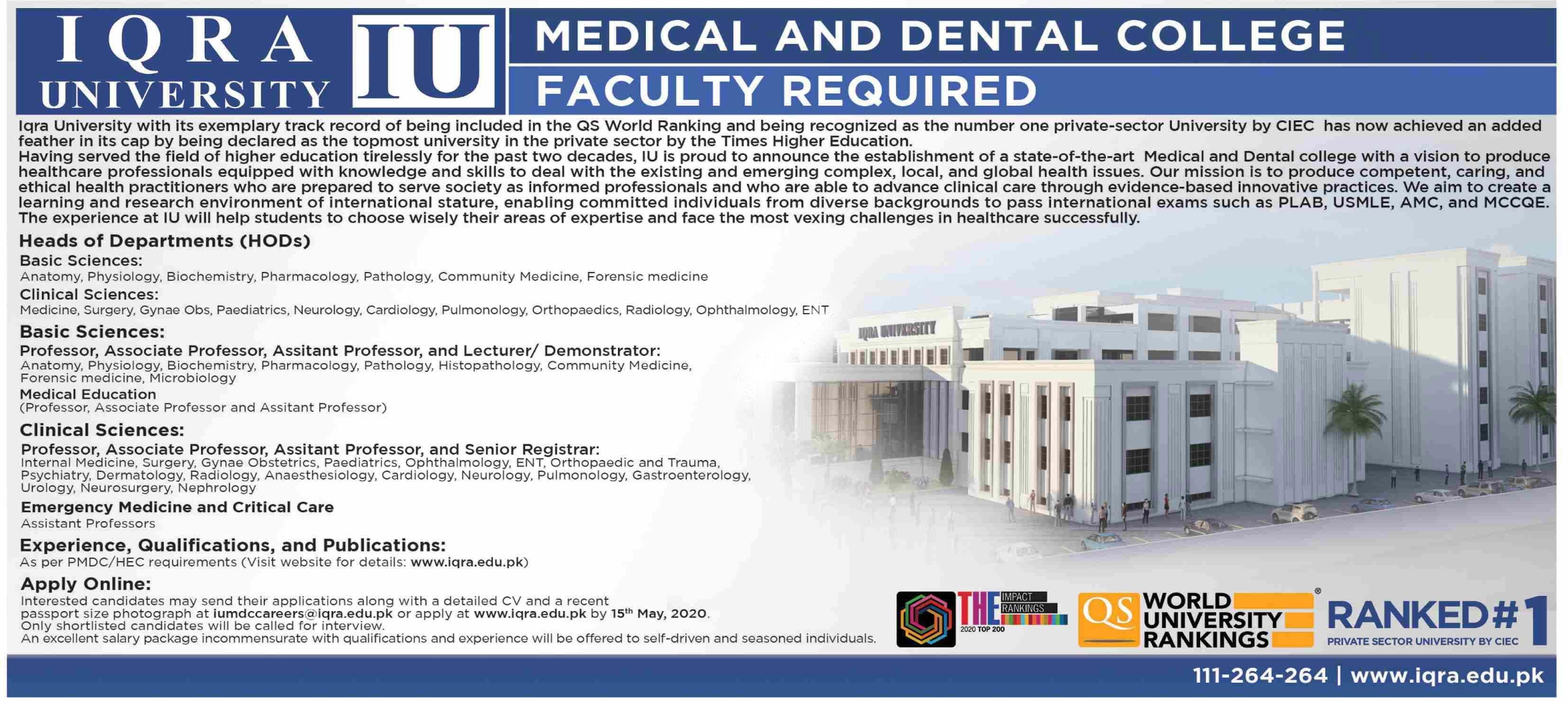Iqra University Mecial & Dental College Islamabad Jobs 2020 Latest