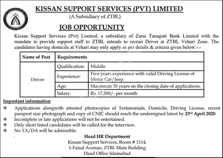 Kissan Support Services Kssl Ztbl Jobs 2020 Latest