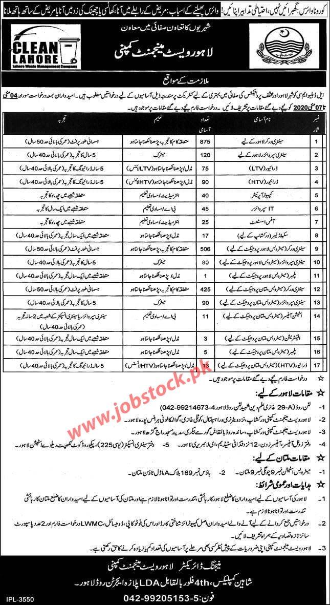 Lahore Waste Management Company Lahore Multan Jobs 2020 Latest