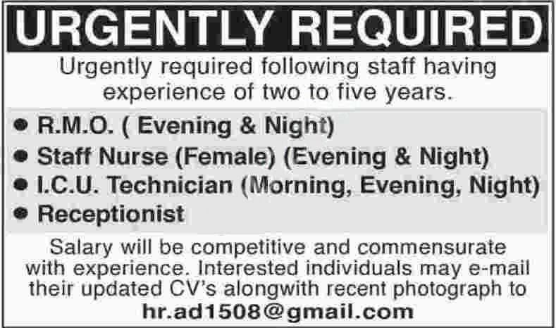 Medical & Non Mecial Staff Jobs In Karachi 2020
