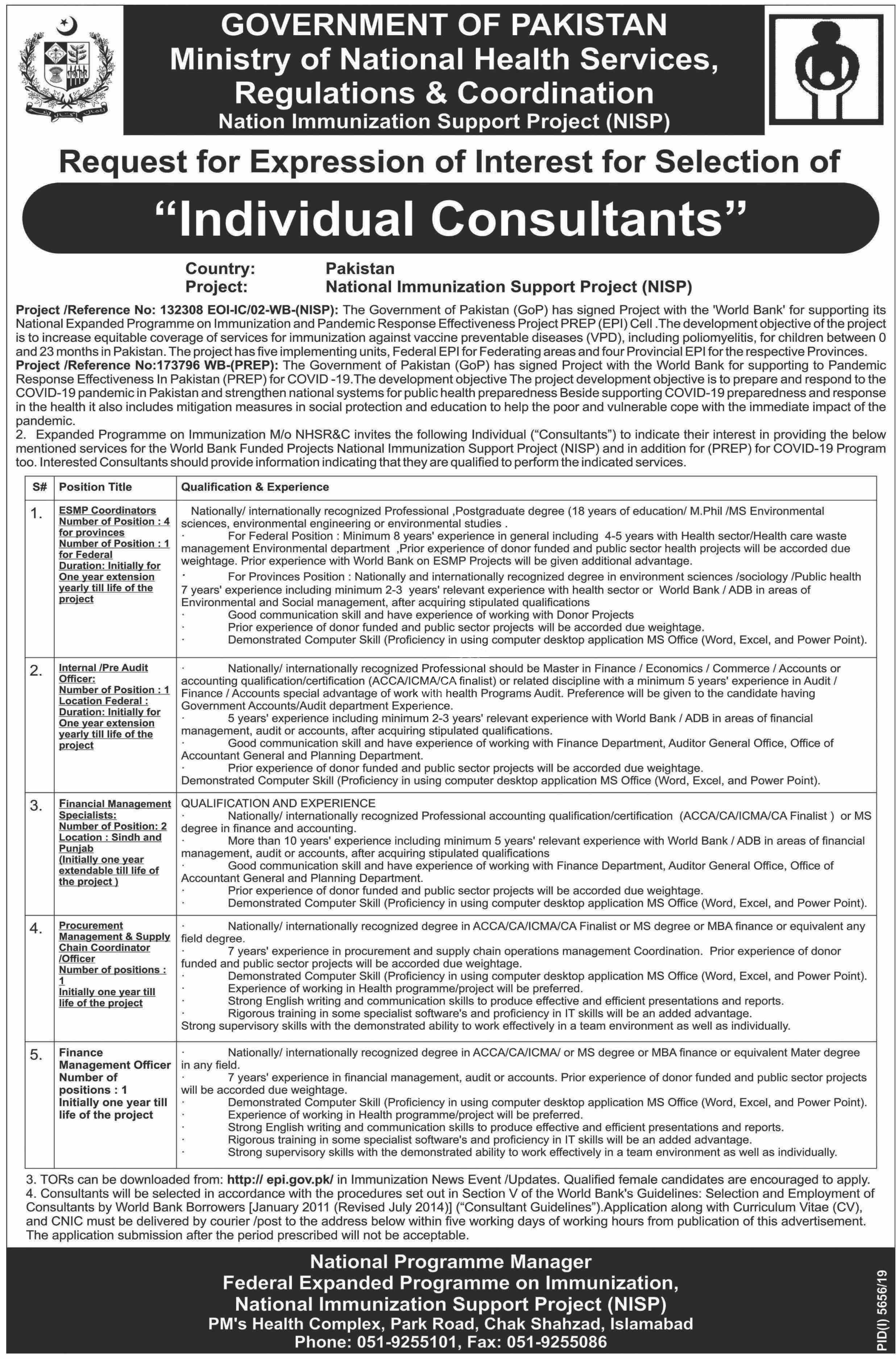 Ministry Of National Health Services Regulations & Coordination Nhsrc Islamabad 2020 Latest