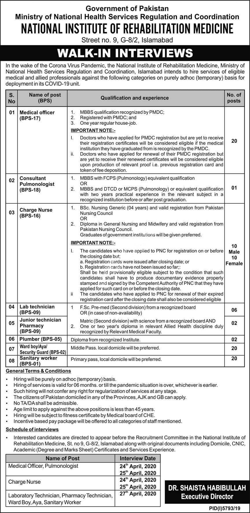 National Institute Of Rehabilitation Medicine Nirm Islamabad Jobs 2020 Latest