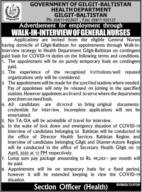 Nurses Jobs Health Department Gilgit Baltistan 2020 Latest