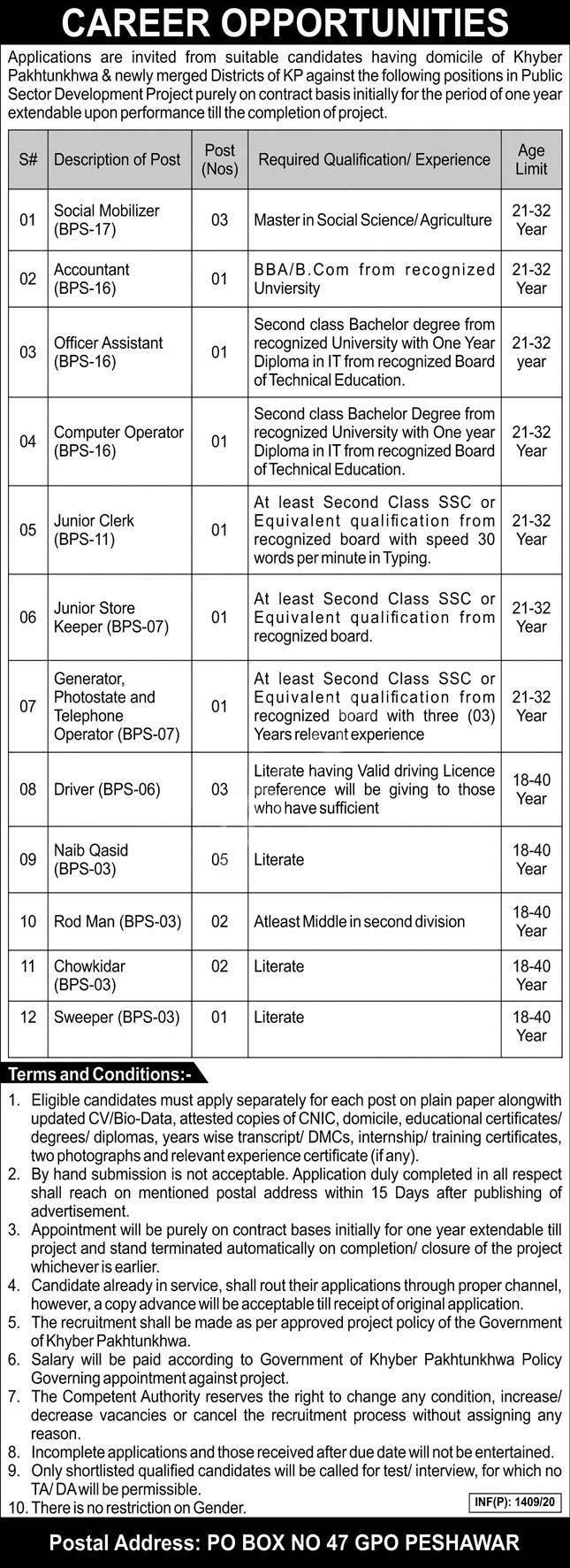 Po Box No.47 Gpo Peshawar Public Sector Organization Jobs 2020 Latest