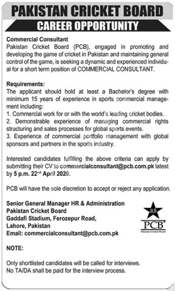 Pakistan Cricket Board Pcb Lahore Jobs 2020 Latest