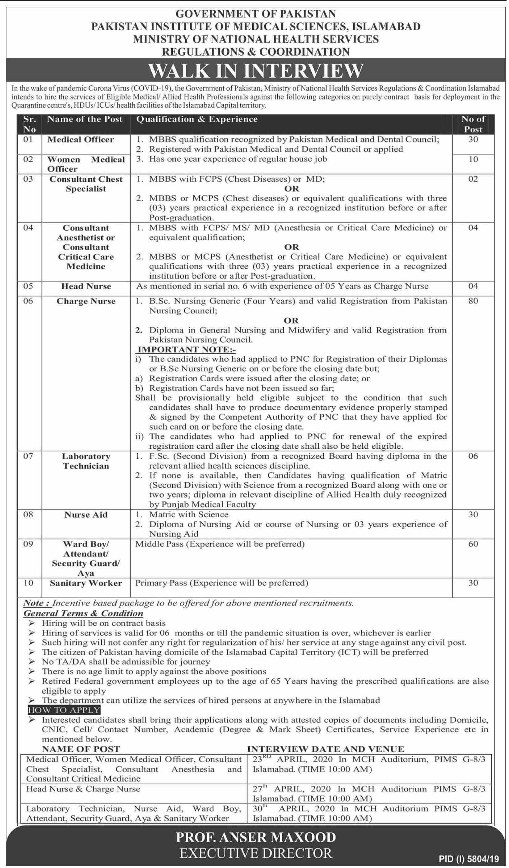 Pakistan Institute Of Medical Sciences Pims Islamabad Jobs 2020 Latest