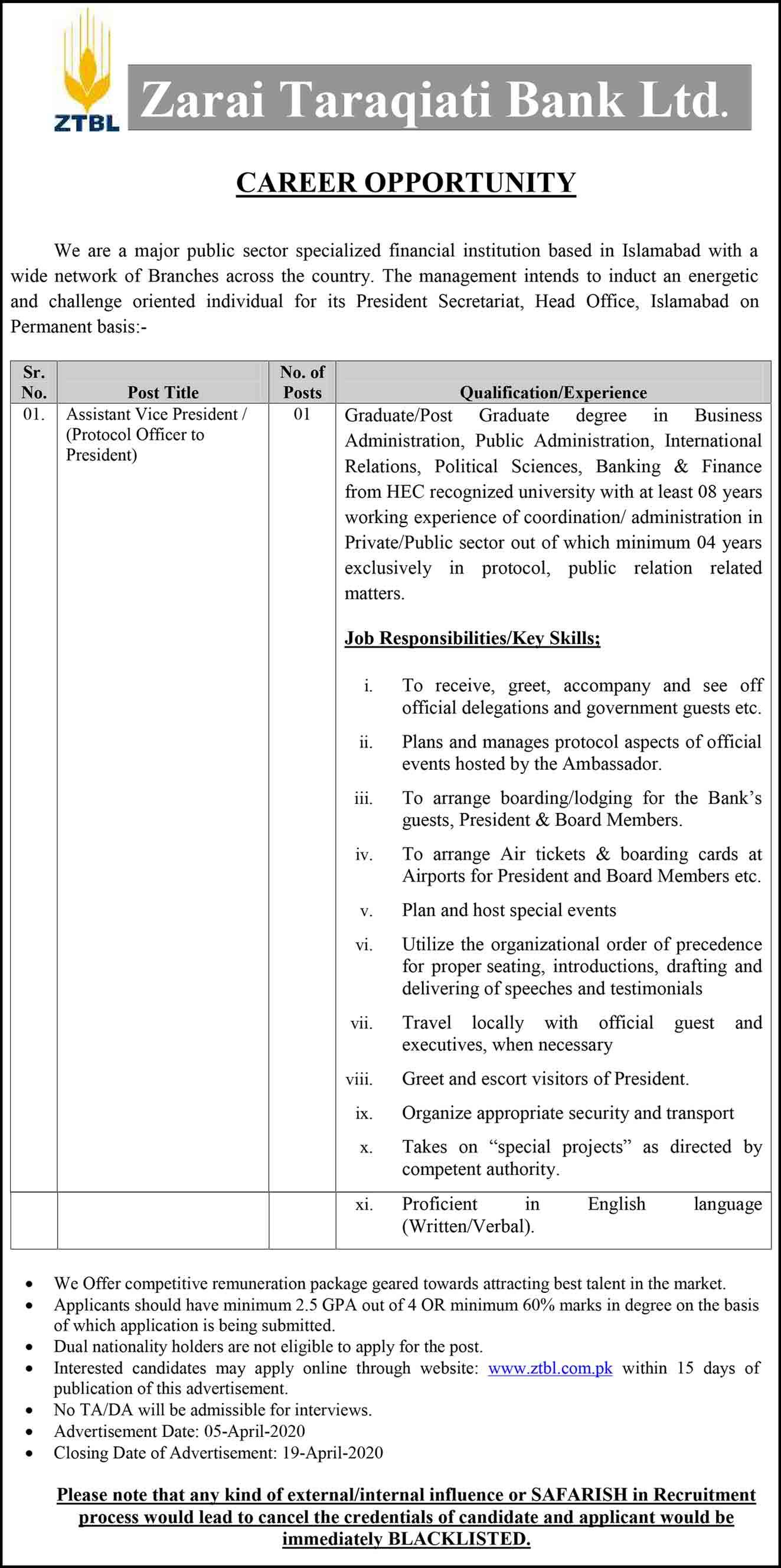 Protocol Officer Jobs In Ztbl Zarai Tarakiati Bank Islamabad 2020 Latest Apply Online (2)