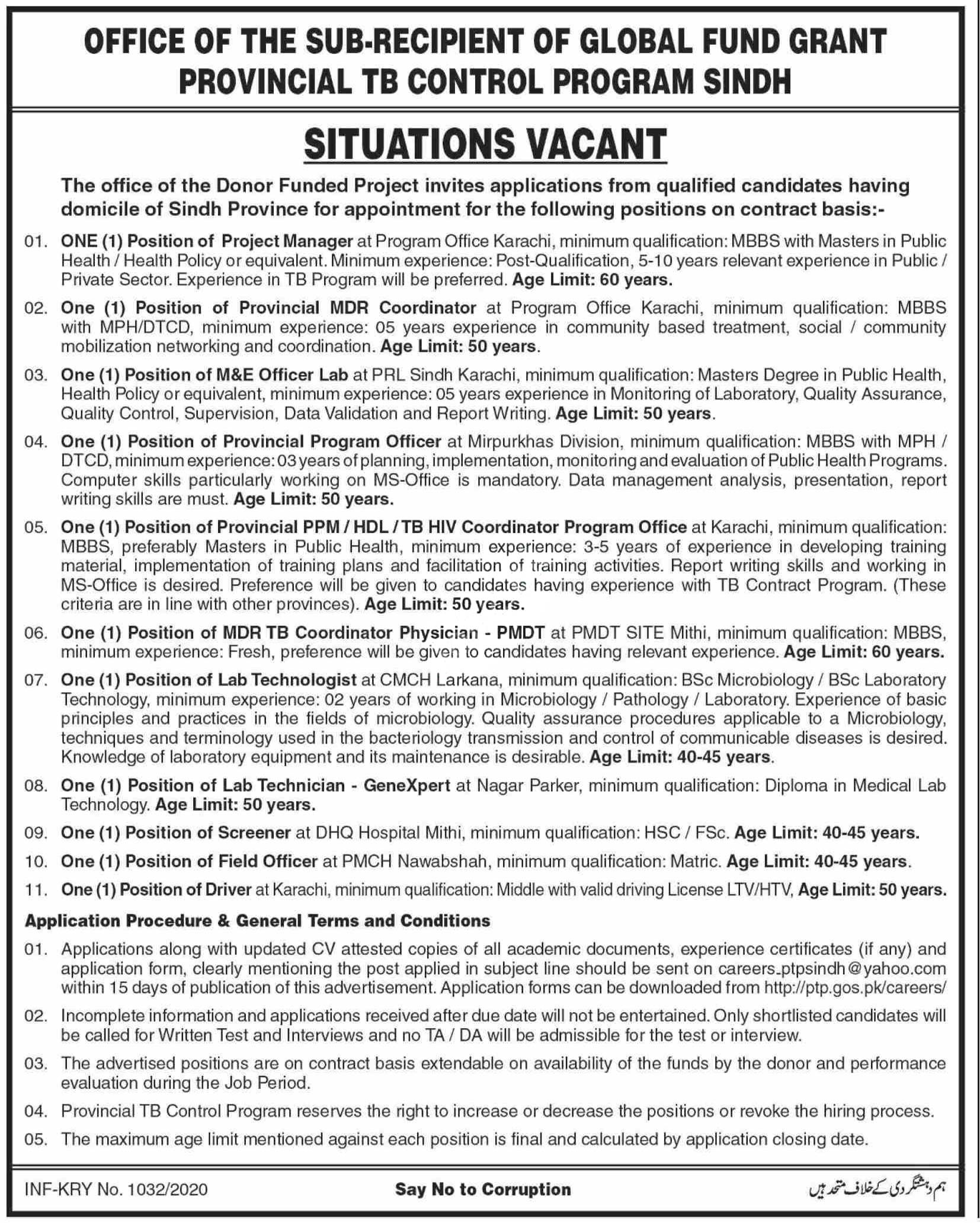 Provincial Tb Control Program Sindh Global Fund Grant Jobs 2020 Latest