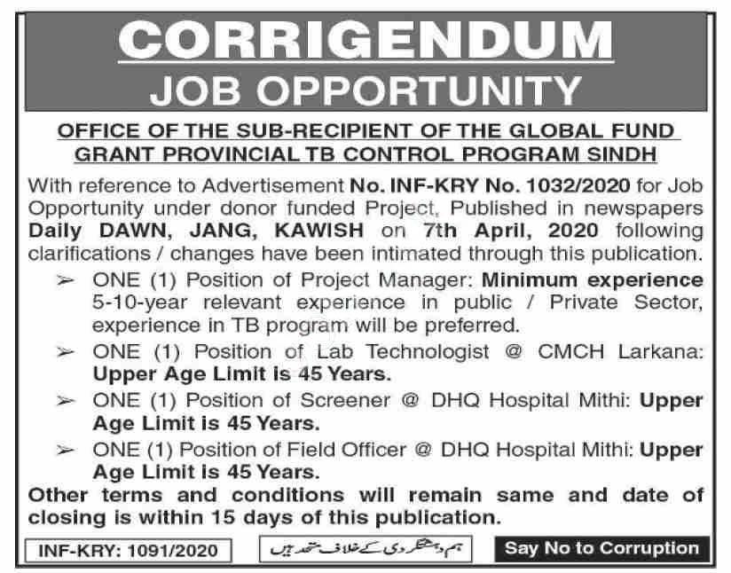 Provincial Tb Control Program Sindh Jobs 2020 Latest