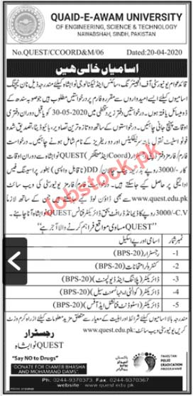 Quaid E Awam University Of Engineering Science And Technology Nawabshah Jobs 2020 Latest