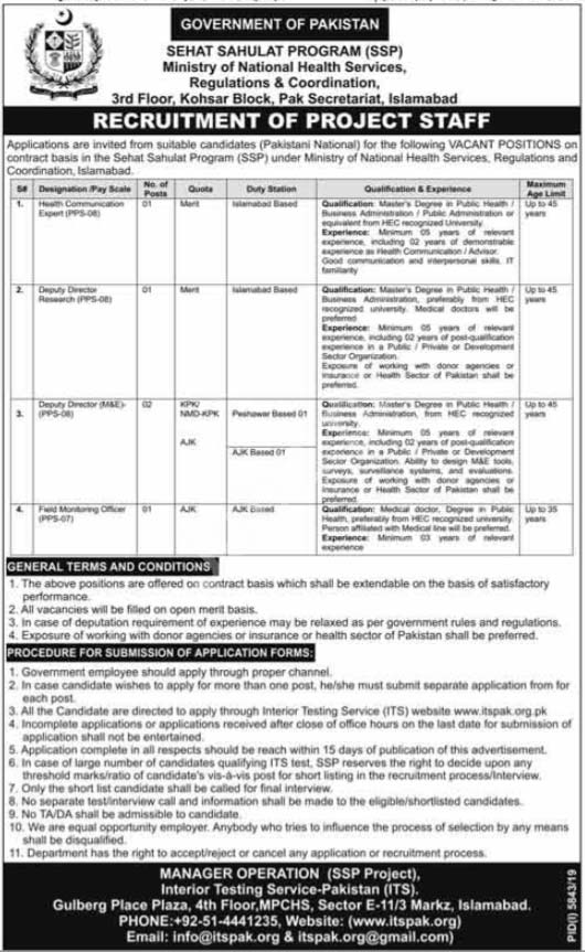 Sehat Sahulat Program Ssp Islamabad Jobs 2020 Ministry Of National Health Services Latest