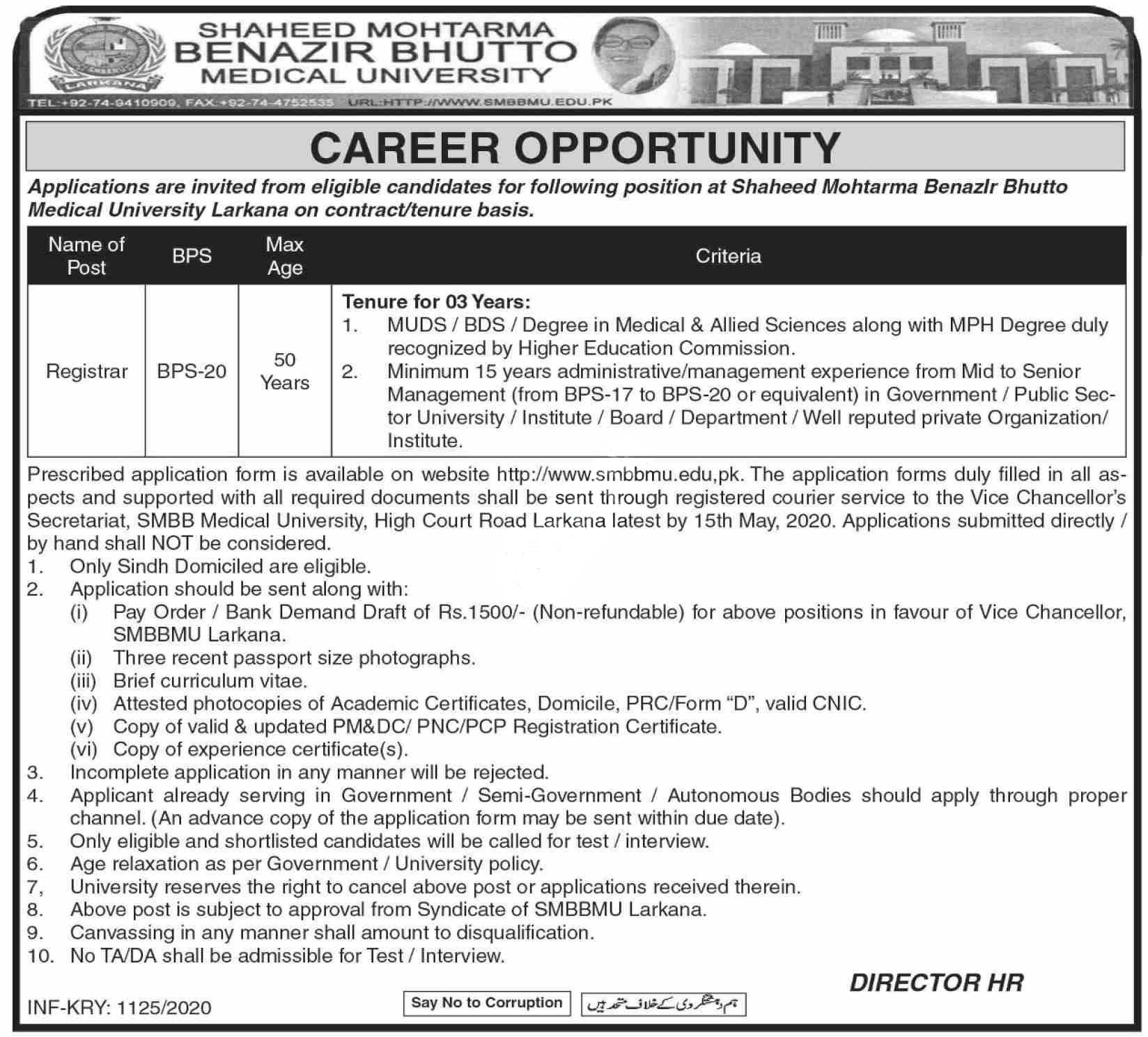 Shaheed Mohtarma Benazir Bhutto Medical University Larkana Jobs 2020