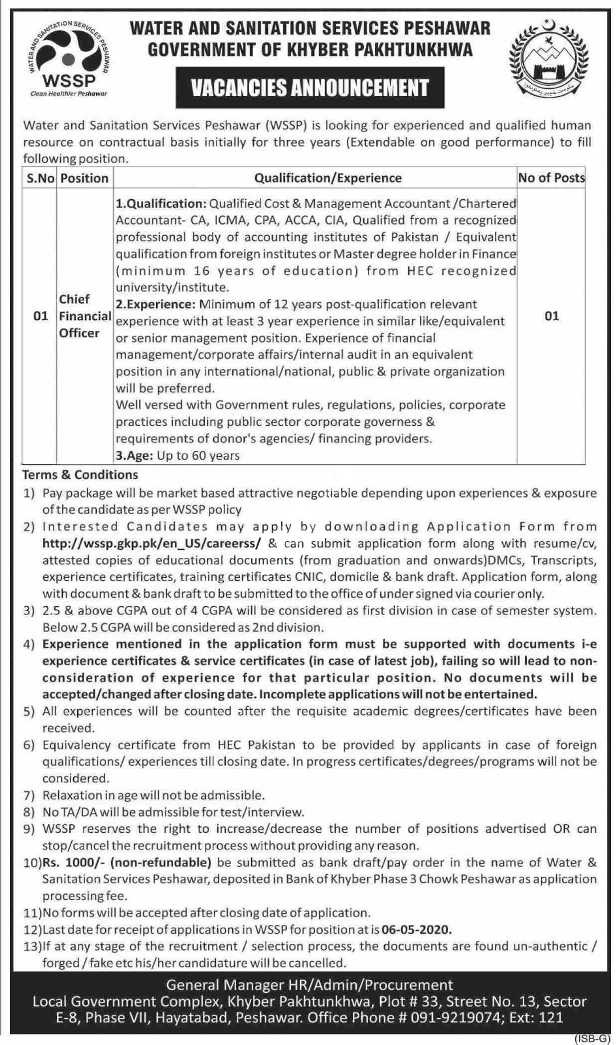 Water & Sanitation Services Peshawar Wssp Jobs 2020 Latest