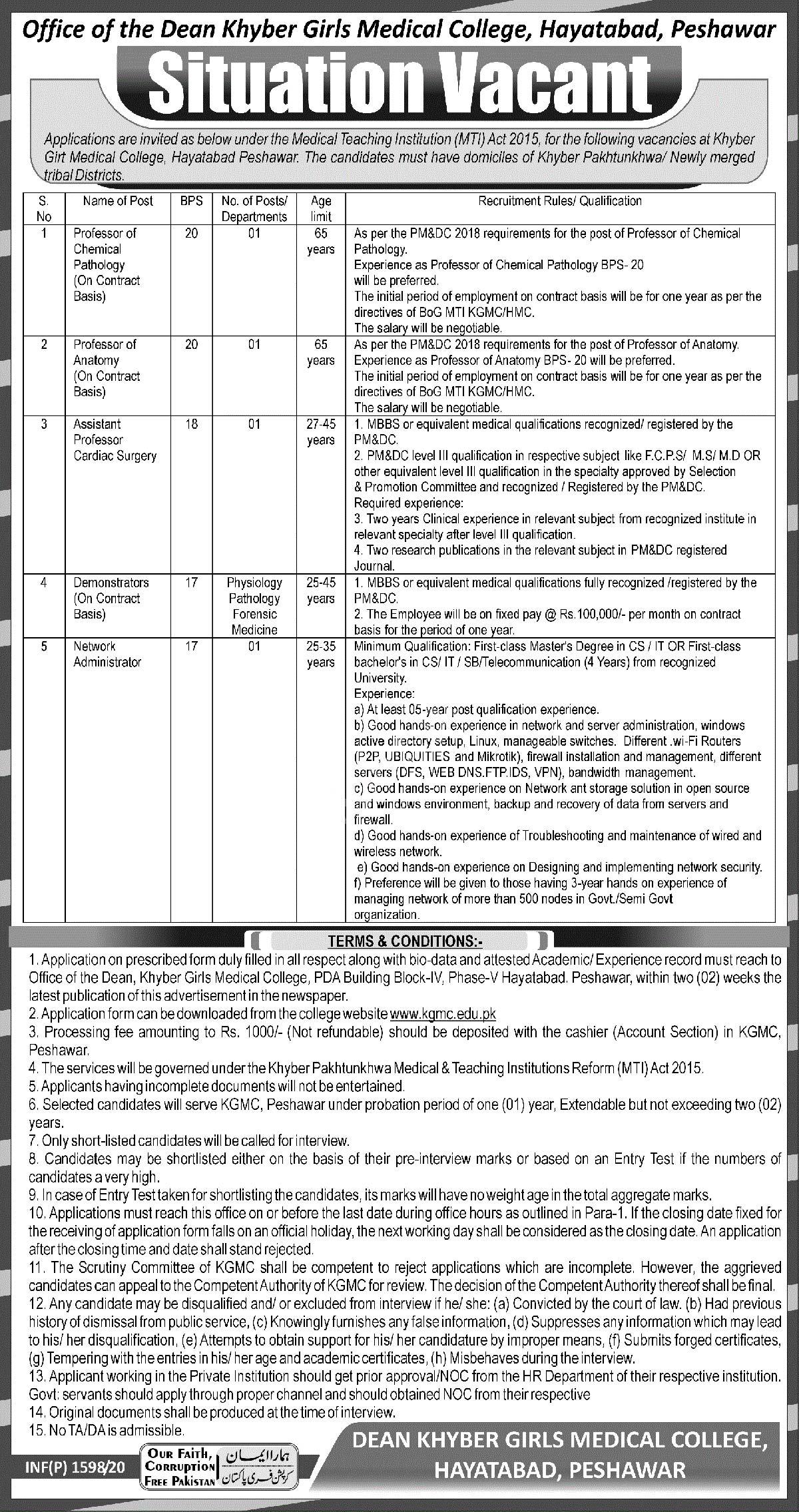 Dean Khyber Girls Medical College Hayatabad Peshawar Jobs 2020