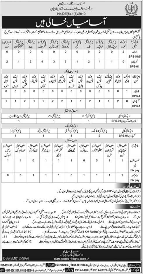 Education Department Gilgit Baltistan Jobs 2020 Latest