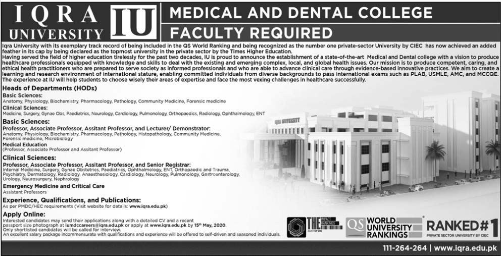 Iqra University Medical & Dental College Jobs 2020 Latest