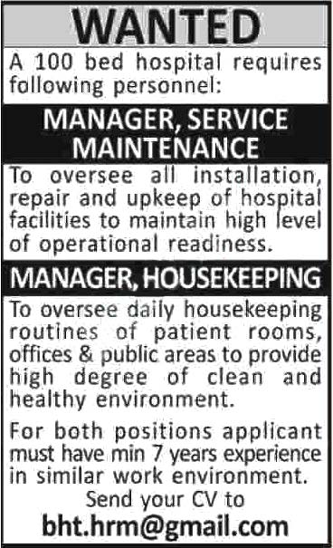 Jobs In 100 Bed Hospital Karachi 2020