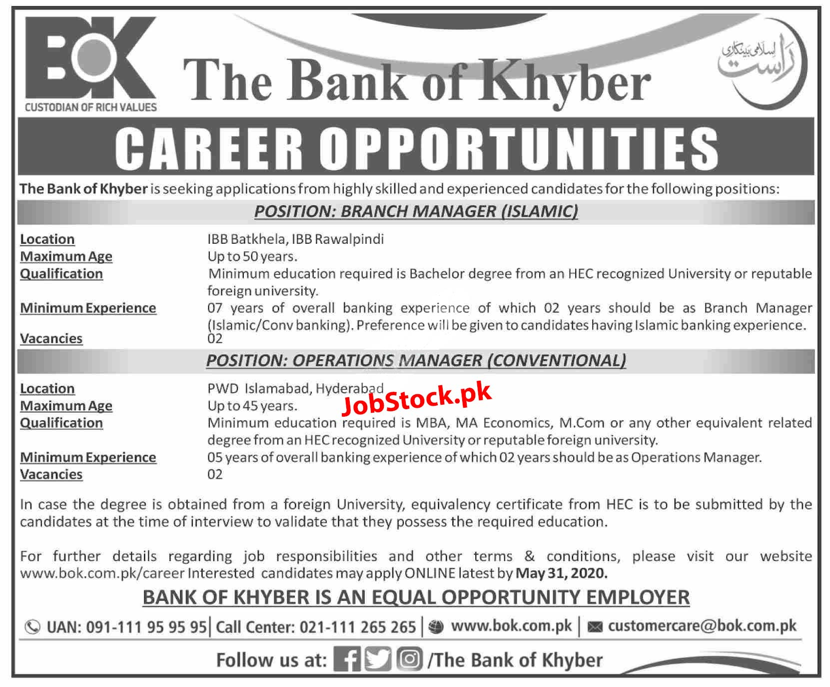 Jobs In Bank Of Khyber Rawalpindi 2020