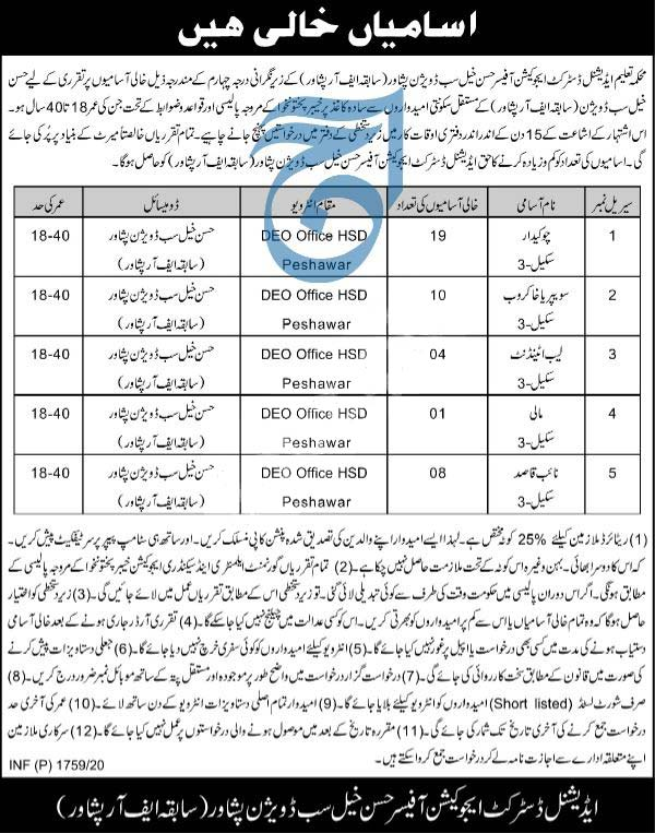 Jobs In Education Department Additional District Education Officer Hassan Khel 2020 Latest