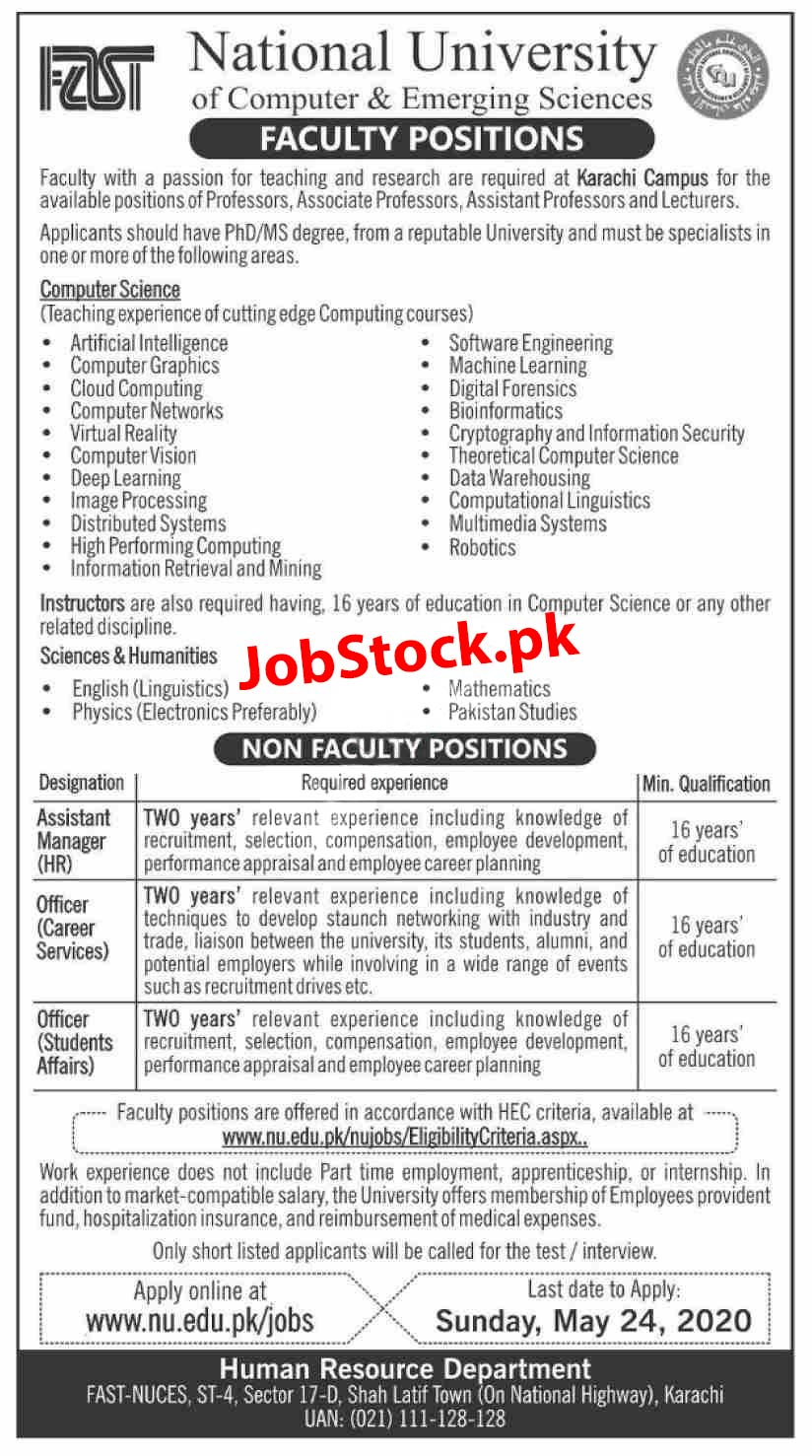 Jobs In Fast National University Of Computer & Emerging Sciences Karachi Campus 2020 Latest
