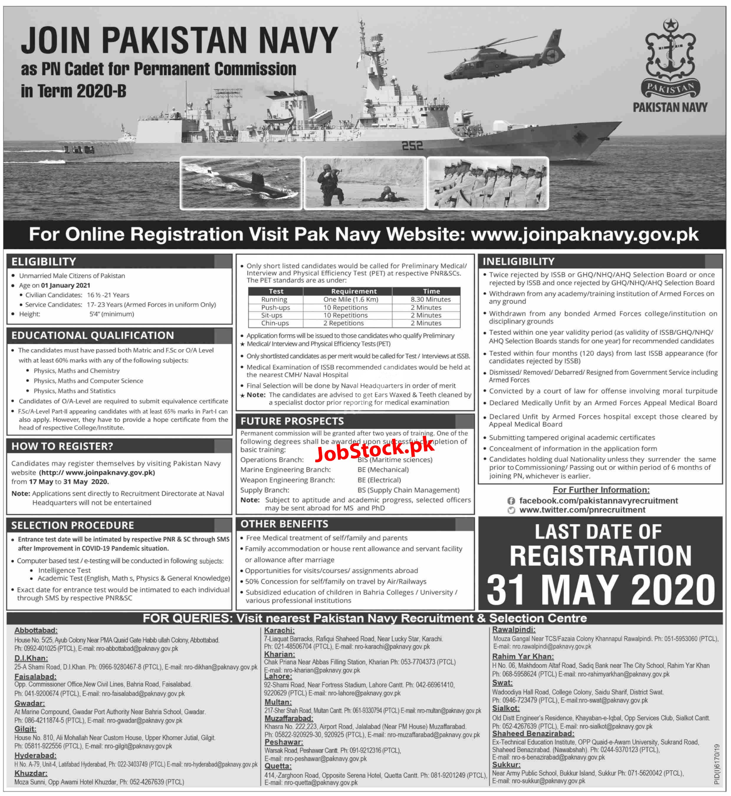 Jobs In Join Pakistan Navy Pn Cadet Commission Officer 2020 B Registration Www.joinpaknavy.gov.pk