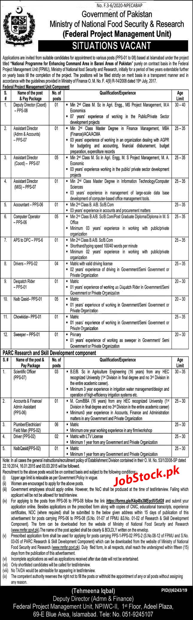 Jobs In Ministry Of National Food Security & Research Mnfsr 2020 Latest
