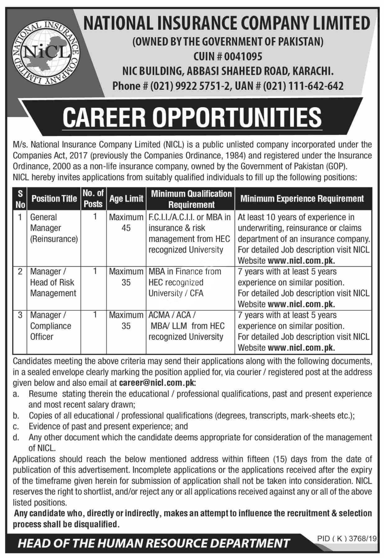 Jobs In National Insurance Company Limited Nicl Karachi 2020 Latest