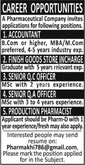 Jobs In Pharmaceutical Company Karachi 2020