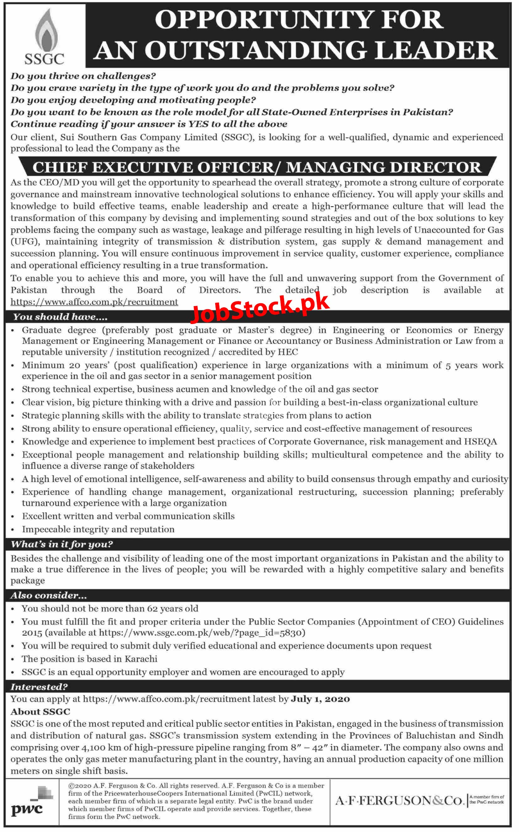 Jobs In Ssgc Sui Southern Gas Company Limited Karachi 2020