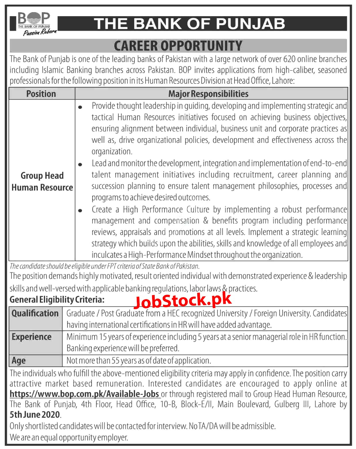 Jobs In The Bank Of Punjab Bop 2020 Latest