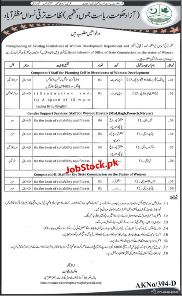 Jobs In Women Development Department Muzaffarabad Ajk 2020 Latest