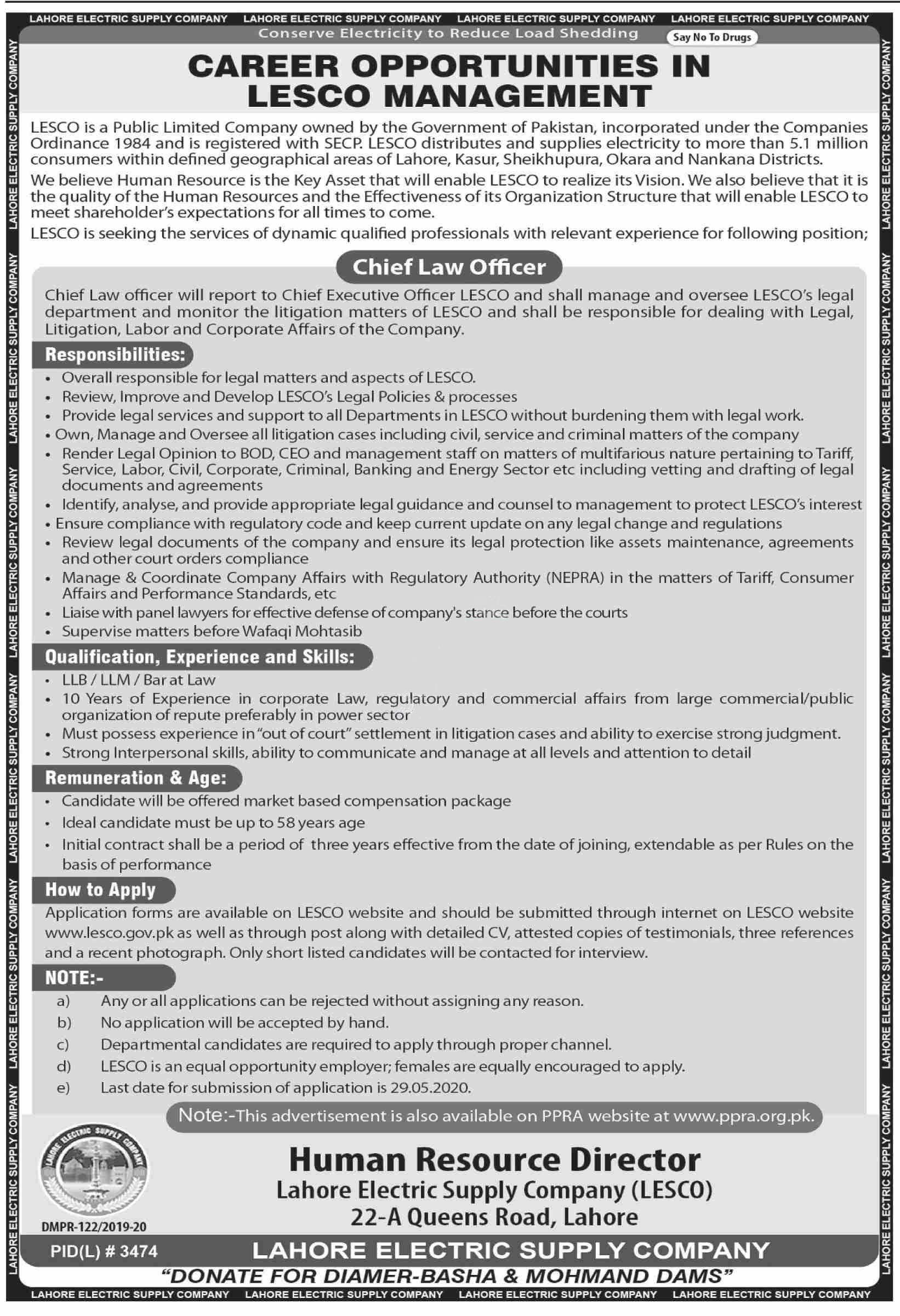 Lahore Electric Supply Company Lesco Jobs 2020 Latest