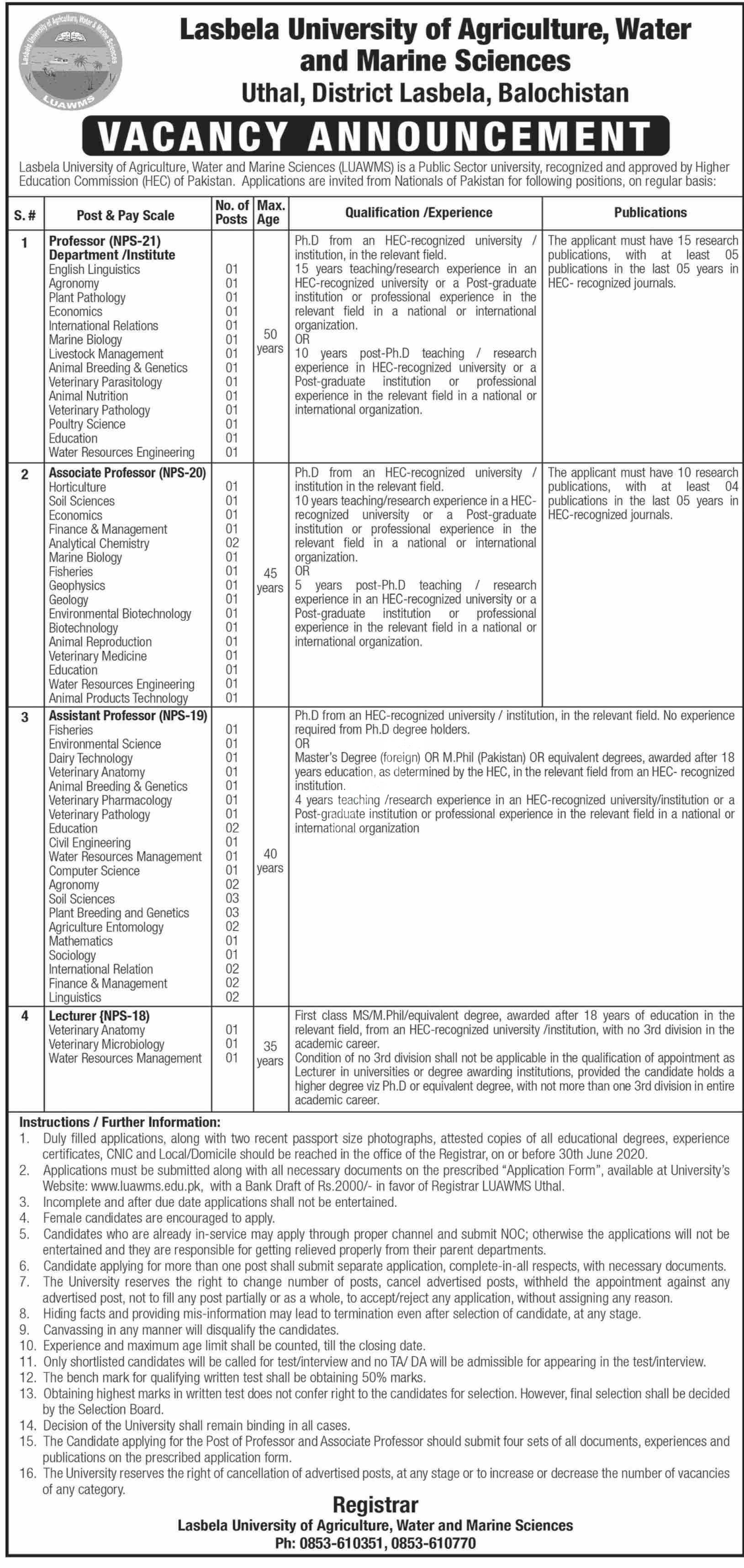 Lasbela University Of Agriculture Water And Marine Sciences Jobs 2020 Latest
