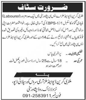 Military Green Depot & Mills Asc Peshawar Jobs 2020