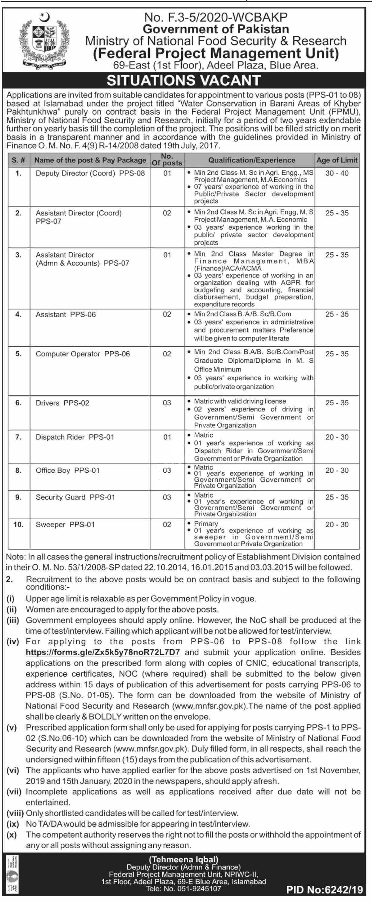 Ministry Of National Food Security & Research Mnfsr Islamabad Jobs 2020 Latest