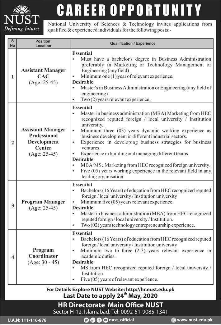 National University Of Science & Technology Nust Islamabad Jobs 2020