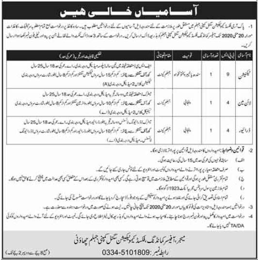 Pak Army Fixed Communication Signal Company Jhelum Jobs 2020 Latest