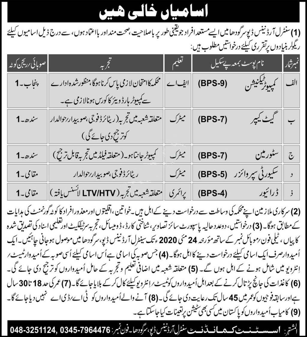 Pakistan Army Central Ordnance Depo Sargodha Jobs 2020 Latest