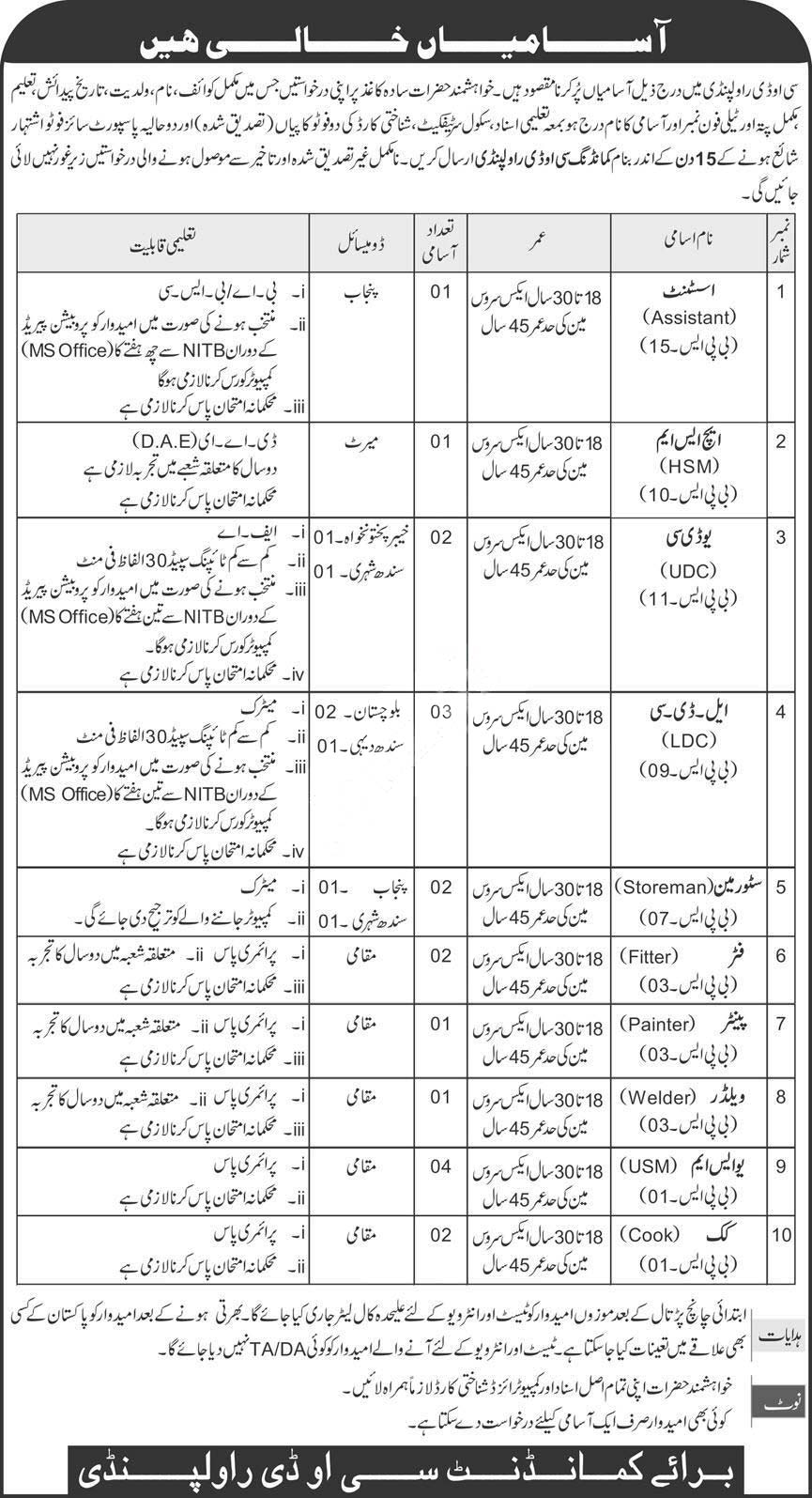 Pakistan Army Central Ordnance Depot Cod Rawalpindi Jobs 2020 Latest